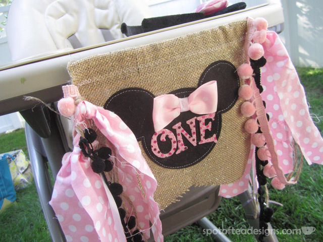 "Minnie Mouse First Birthday Party: ""One"" High Chair Banner 