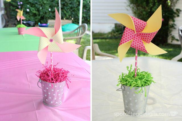 Pinwheel first birthday party: DIY Pinwheel centerpieces with pool noodle foam as center #birthdayparty   spotofteadesigns.com