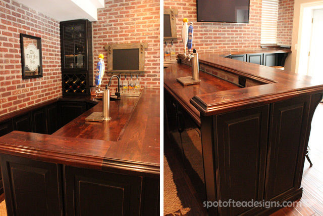 Beautiful Basement Bar Reveal | spotofteadesigns.com