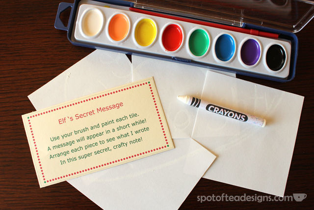 """#ElfOnTheShelf Activity: Write a """"secret"""" message with a white crayon and paint over with watercolors 