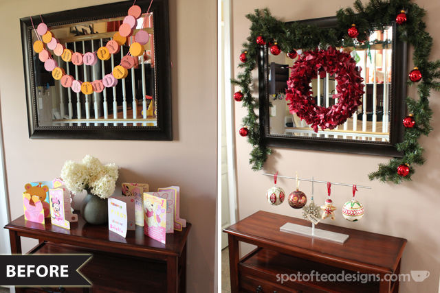 Entry way mirror makeover: the before shots and how I decorated them   spotofteadesigns.com