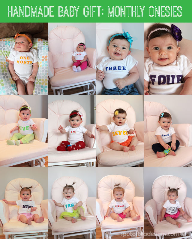 DIY Handmade #Baby #Gift: Monthly Onesies with Iron On Letters #BabyShowerGift | spotofteadesigns.com
