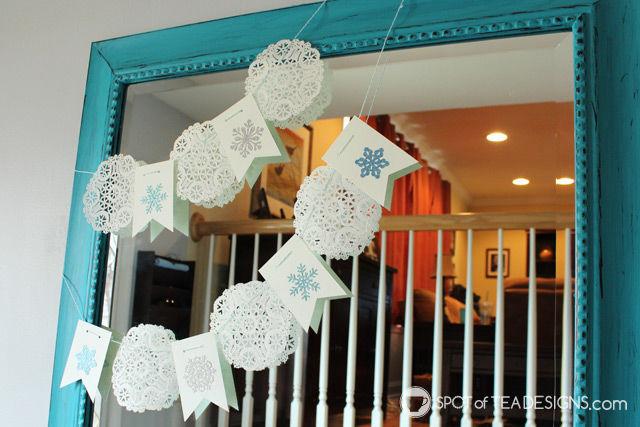 Fast and easy winter doily garland | spotofteadesigns.com