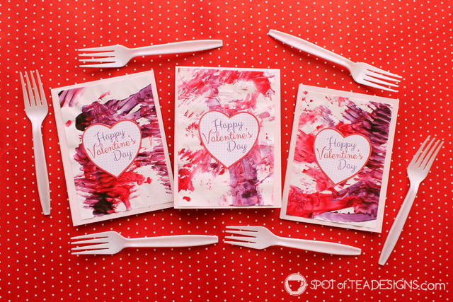 Valentine's Day themed Fork Painting: fun activity for #toddlers #ValentinesDay #kidscraft | spotofteadesigns.com