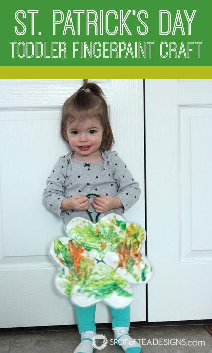 St. Patrick's Day Toddler Fingerpaint Craft - #KidsCraft #StPatricksDay | spotofteadesigns.com