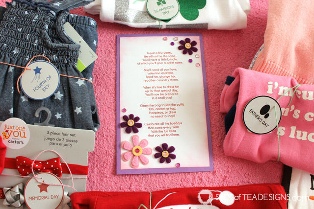 Baby Shower Gift Idea: One year of outfits to wear each holiday. Free #printable #babyshower #gift | spotofteadesigns.com