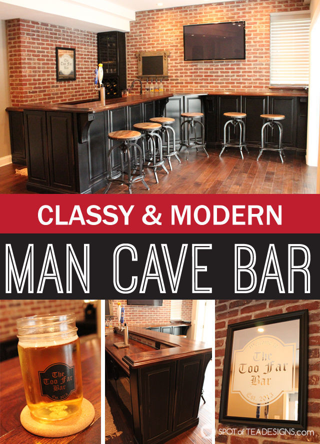 Classy and modern man cave basement bar #mancave #beer | spotofteadesigns.com