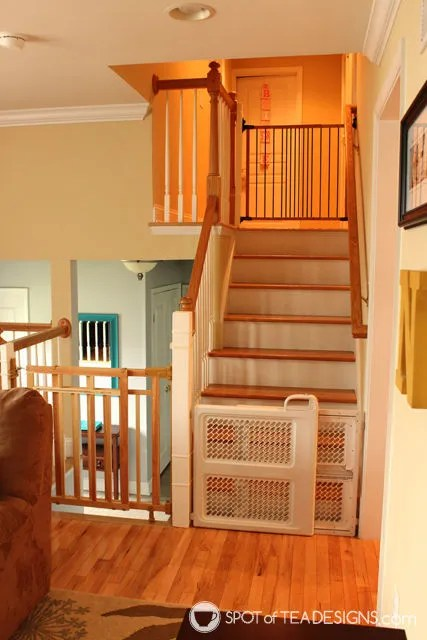 How we babyproofed our home: Example of split level home with different gates used #babyproofing #baby #safety | spotofteadesigns.com