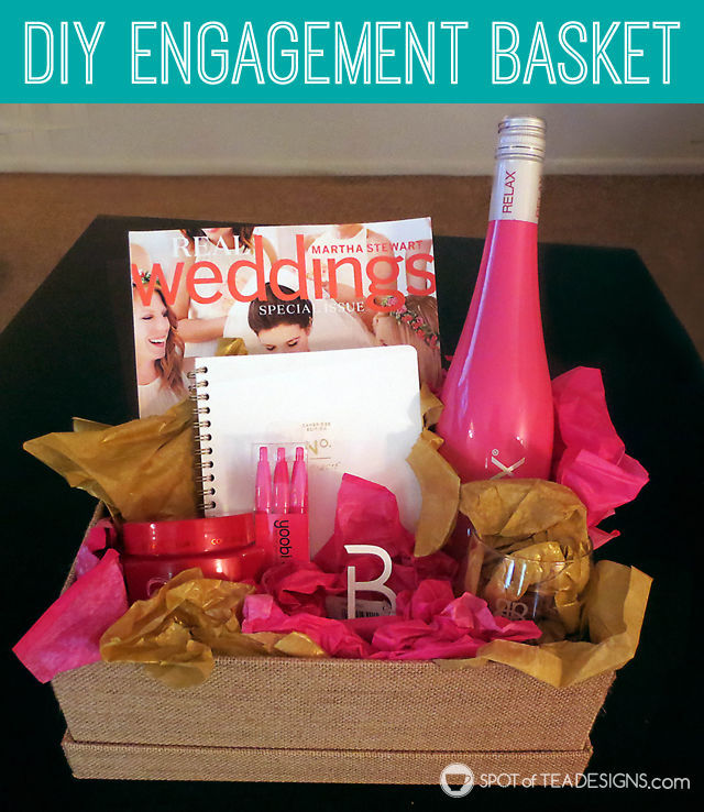 #DIY Engagement Basket Gift idea for a bride to be. #wedding | spotofteadesigns.com