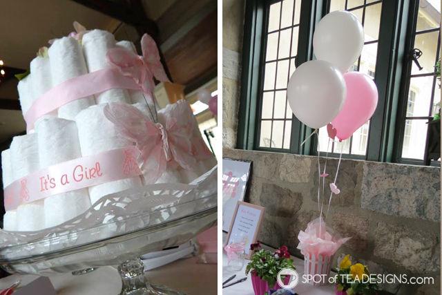 Sweet and Feminine Girl #BabyShower #Party Diaper Cake Decorations | spotofteadesigns.com
