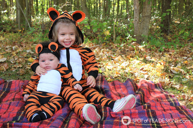 #DIY Tiger #Halloween Costumes for infant and toddler | spotofteadesigns.com