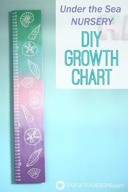 DIY portable growth chart for an under the sea themed baby nursery. #nursery #craft #diy @Decoart_inc | spotofteadesigns.com