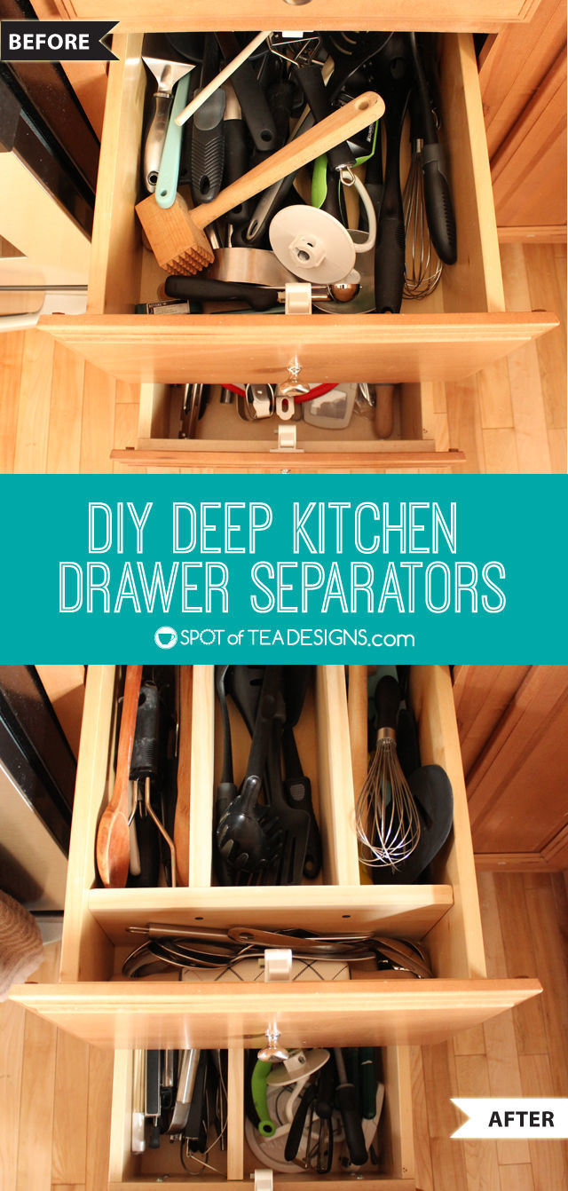 DIY Deep Kitchen Drawer Separators | spotofteadesigns.com