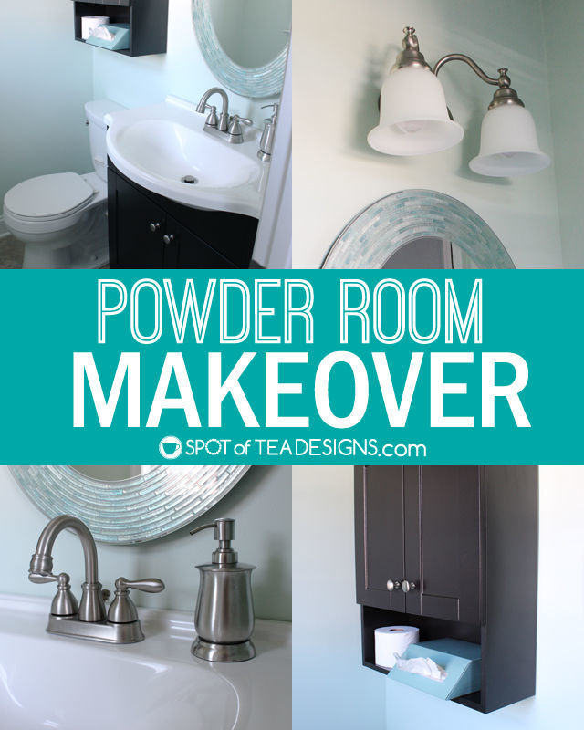 Powder Room Makeover - featuring before and after photos!   spotofteadesigns.com