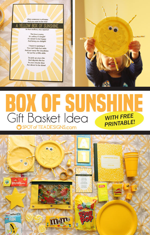 Box of Sunshine Gift Basket Idea - yellow items with free printable to cheer someone up | spotofteadesigns.com