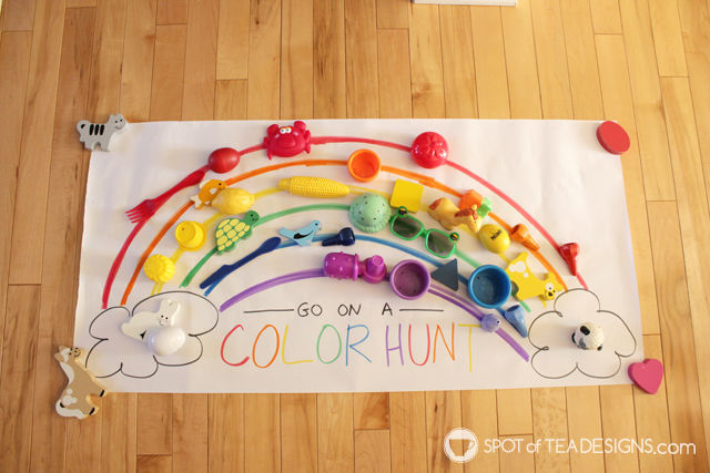 Rainbow Color Hunt Toddler Activity   Spot of Tea Designs