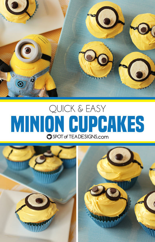 Quick and easy minions cupcakes made with OREO cookies and chocolates | spotofteadesigns.com