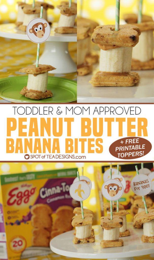 Peanut Butter Banana Bites - toddler and mom approved snack! #ad #LeggoMyEggo #HearTheNews @EggoRecipes | spotofteadesigns.com