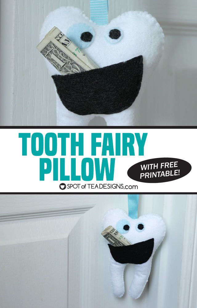 Tooth Fairy Pillow with free printable template   spotofteadesigns.com