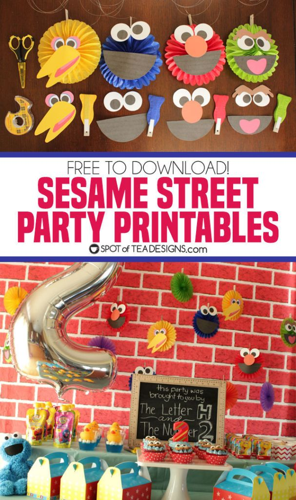 Sesame Street Party printables - turn plain paper fans into the beloved characters!   spotofteadesigns.com