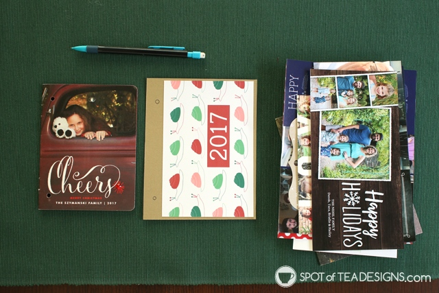 How to make a christmas card flip book from photo cards plus free printable covers | spotofteadesigns.com