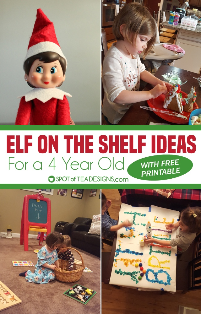 Elf on the shelf ideas for a 4 year old with free printable schedule of hiding places and activities. #elfontheshelf | spotofteadesigns.com