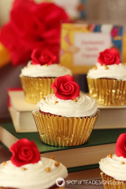 Beauty and the Beast Party Hacks - semi homemade cupcakes | spotofteadesigns.com