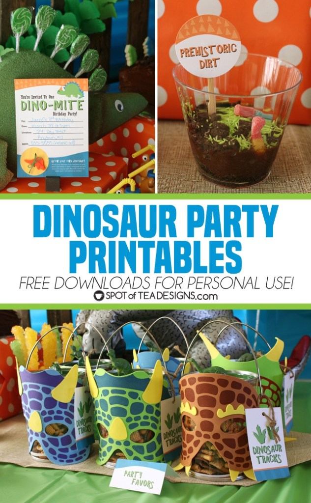 Dinosaur Party Printables - free to download for personal use   spotofteadesigns.com