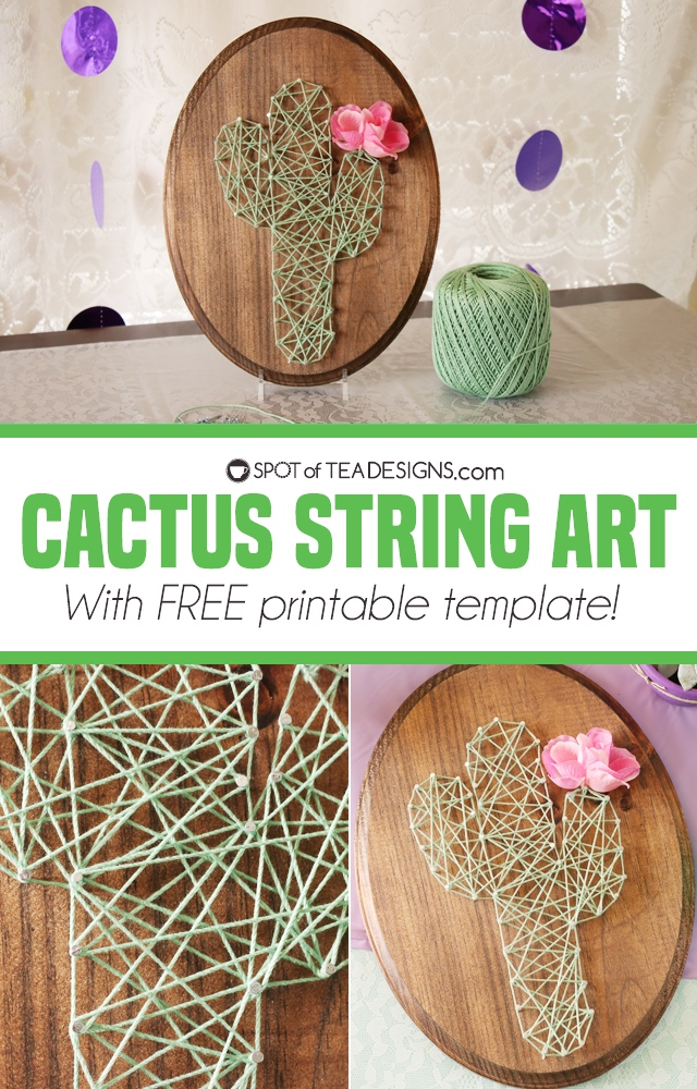 Cactus string art with free printable template | spotofteadesigns.com