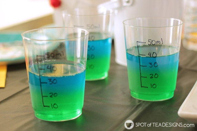 Cute Jello Party desserts - science beakers using clear cups   spotofteadesigns.com
