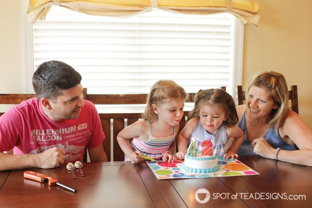 Family birthday tradition - 1 ice cream cake and all spoons | spotofteadesigns.com