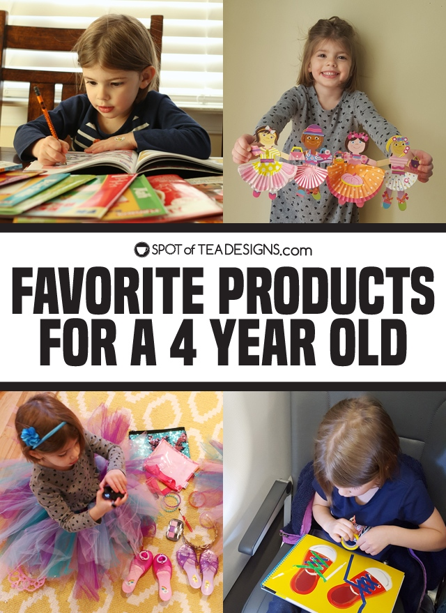Favorite products for a 4 year old - from travel, to educational, to arts and crafts, to pretend play | spotofteadesigns.com