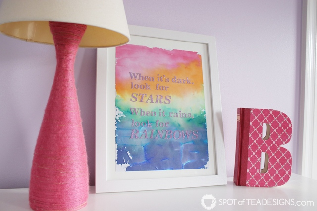 See how to turn their bleeding tissue paper craft into a beautiful piece of wall art for their bedroom!   spotofteadesigns.com