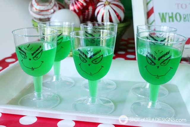 Grinch party food - jello cups! | spotofteadesigns.com