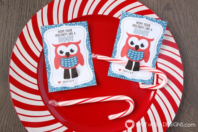 Owl Candy Cane Holder Favor Tags - great little gift for classmates or friends | spotofteadesigns.com
