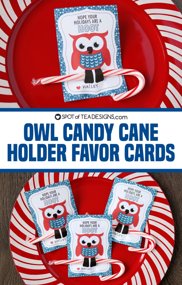 Owl Candy Cane Holder Favor Tags - great little gift for classmates or friends   spotofteadesigns.com