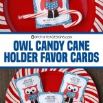 Owl Candy Cane Holder Favor Cards