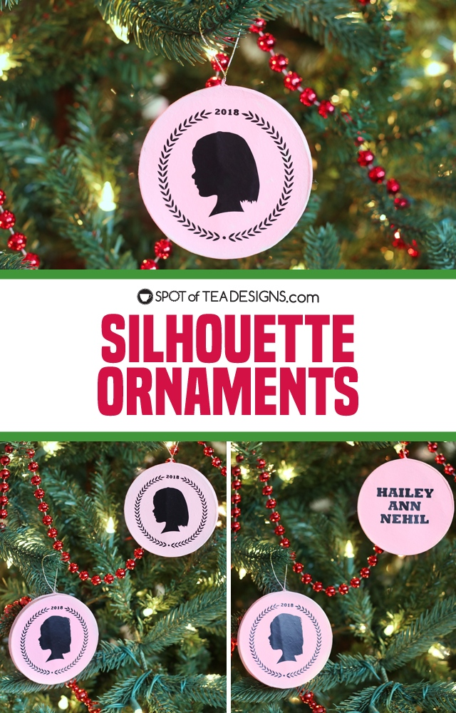 silhouette ornaments using cricut iron on vinyl | spotofteadesigns.com