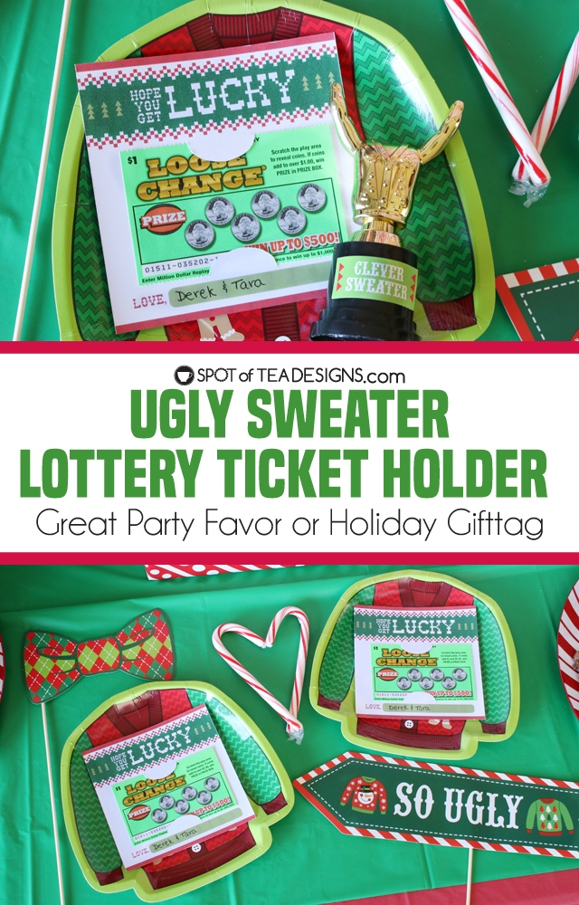 Ugly Sweater Lottery Ticket Holder - great party favor or holiday gifttag   spotofteadesigns.com