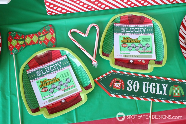 Ugly Sweater Lottery Ticket Holder - great party favor or holiday gifttag | spotofteadesigns.com