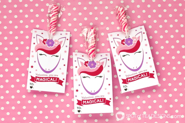 Printable classroom valentines - unicorn lollipop holders | spotofteadesigns.com