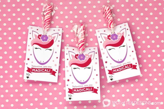 Printable classroom valentines - unicorn lollipop holders | spotofteadesigns.com