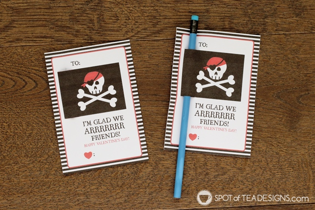 Printable Classroom Valentine's - pirate themed pencil holders | spotofoteadesigns.com