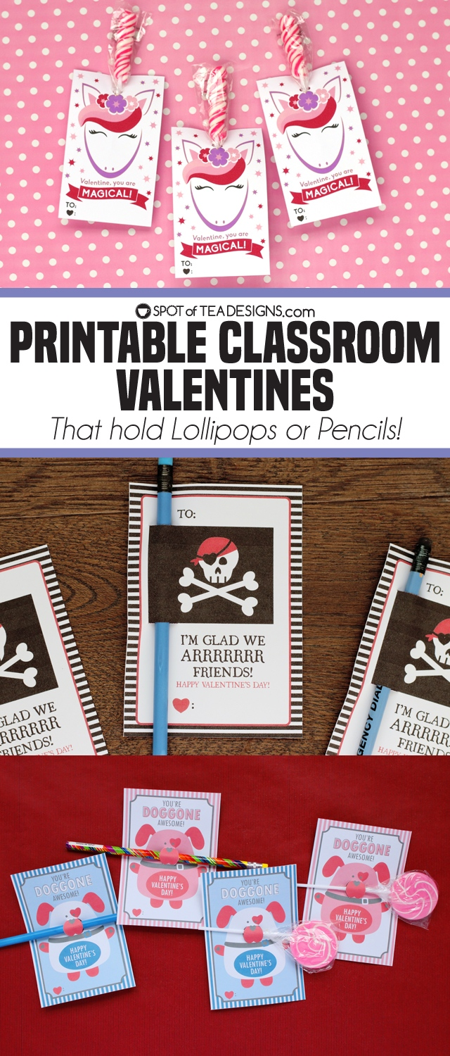 Printable Classroom Valentine's - that hold lollipops or pencils! Personalized options also available | spotofoteadesigns.com