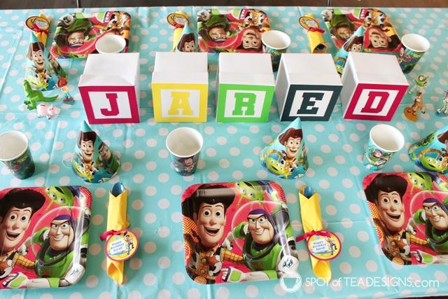 Toy STory Party Hacks - White boxes turn into alphabet blocks as centerpiece   spotofteadesigns.com