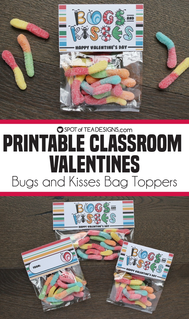 image about Bugs and Kisses Free Printable named Printable Clroom Valentines Insects and Kisses Bag Toppers