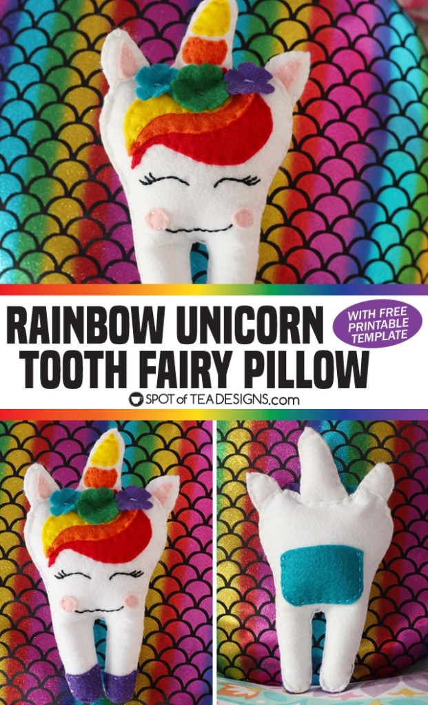 Unicorn Tooth Fairy Pillow with free printable template | spotofteadesigns.com