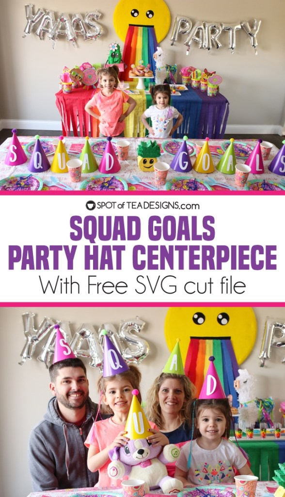 "Squad goals party hat centerpiece idea for kids birthday party, complete with free SVG file for this font matching a ""Selfie Celebration"" party line 