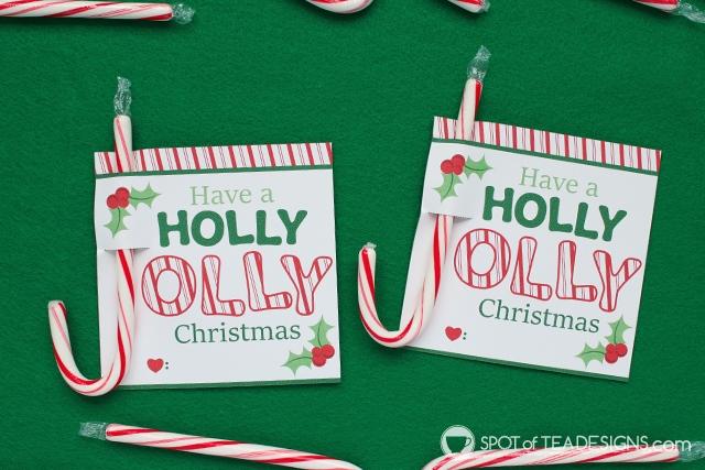 Holly Jolly Printable Christmas Candy Cane Holders | spotofteadesigns.com