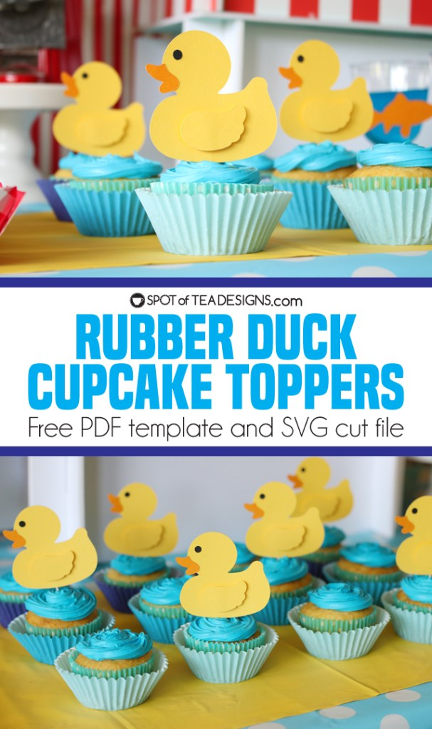 Rubber Duck Cupcake Toppers with free pdf and svg templates   spotofteadesigns.com